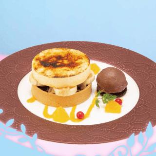 オレンジとバナナの サクサクタルト ~チョコアイス添え~