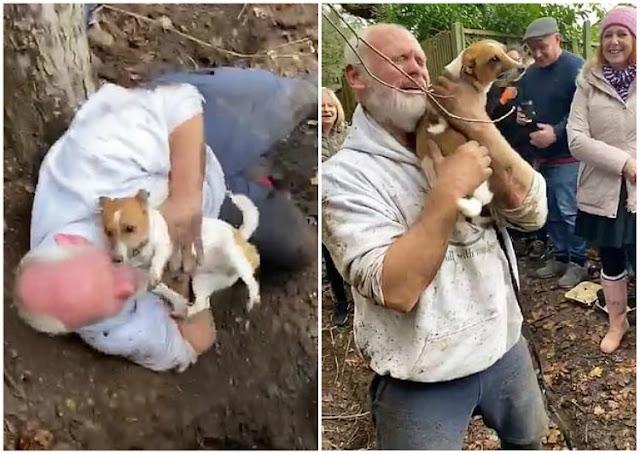 Трогательная встреча хозяина и его собаки, просидевшей под землей целых три дня! ВИДЕО