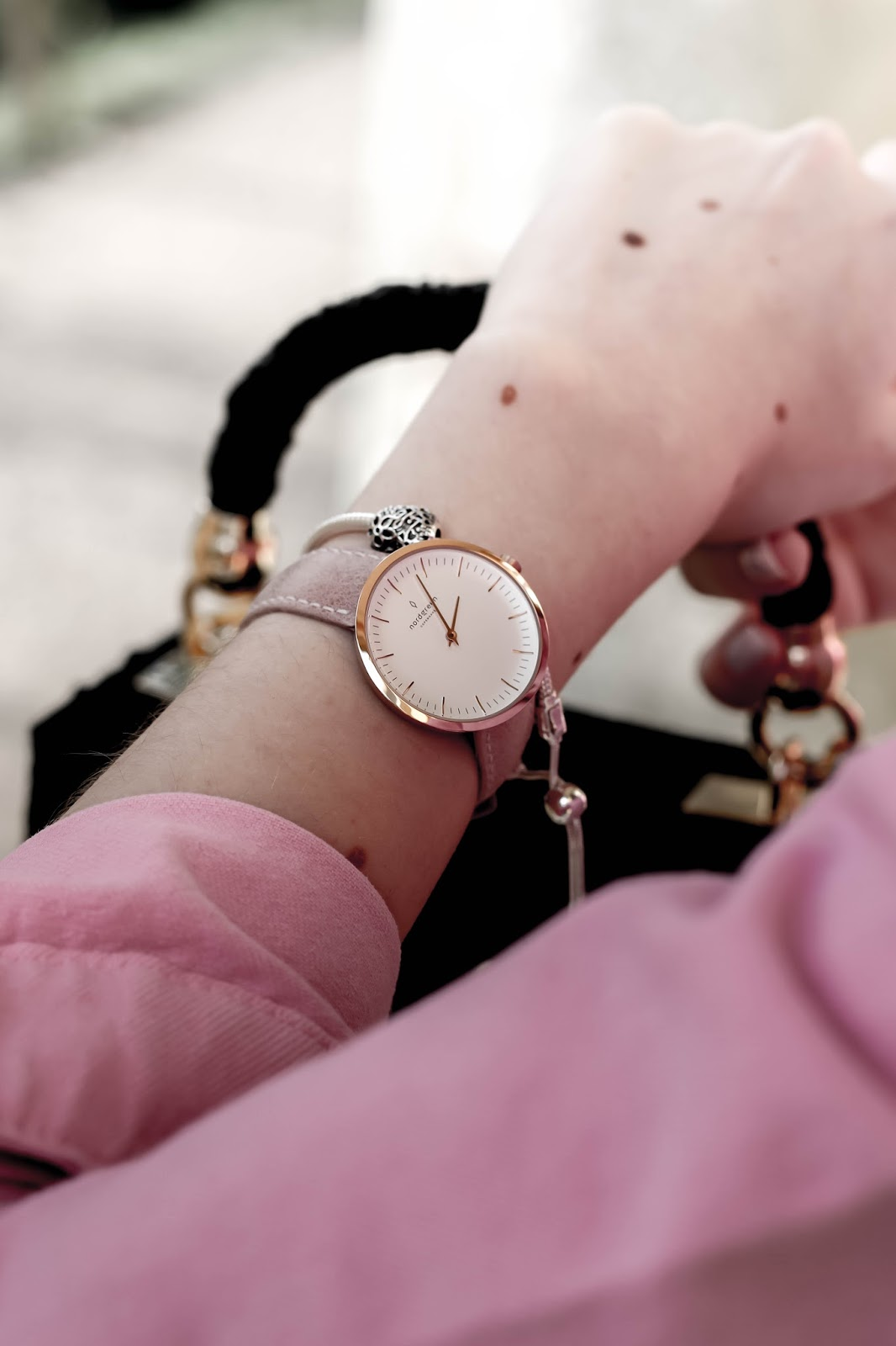 Nordgreen pink and rose gold infinity watch blog review