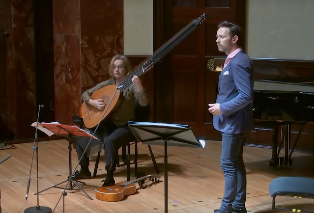 Elizabeth Kenny and Iestyn Davies in Purcell at Wigmore Hall (Photo taken from Live Stream)