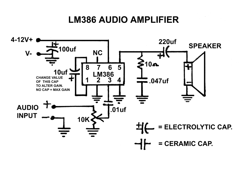 lm386 audio amplifier circuit using lm386 mpf102 bc548
