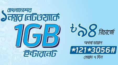 Grameenphone 1 GB Internet Package 94 Taka Offer