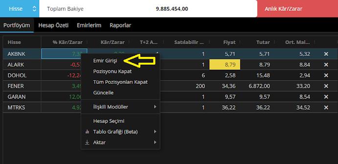 Matriks Web Trader Portföy Ekranı