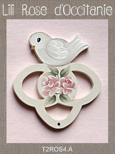 """Tri-fils bois peint """"Colombe et roses roses"""". Broderie et point de croix"""