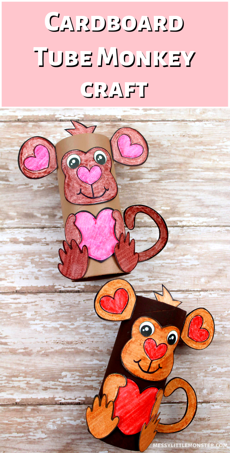 Easy cardboard tube craft for kids. Monkey craft for preschoolers with monkey template