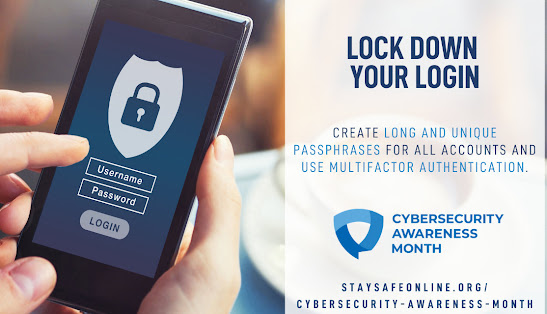 Image of logging into a phone, promoting the use of better passwords, from Stay Safe Online, Cybersecurity Awareness Month, Lock down your login