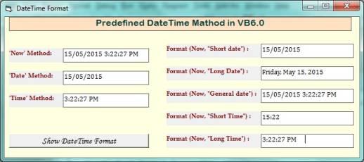 Pedefined dateTime Format in Vb6.0