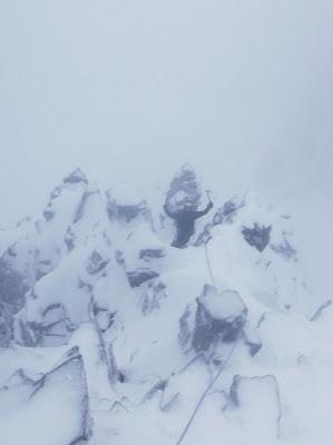 Dorsal arete, scottish winter climbing