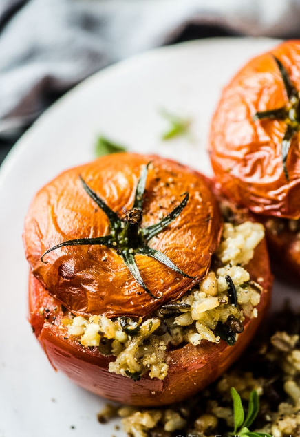 Mediterranean Stuffed Tomatoes with Rice