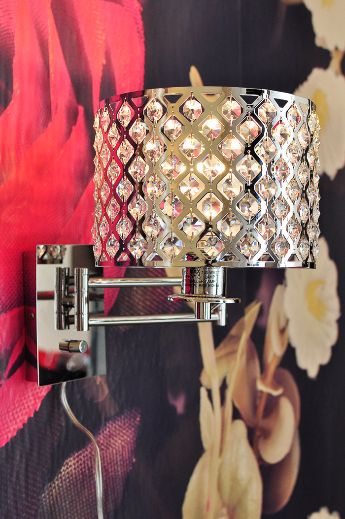 A review of the Possini Euro Glitz Wide Plug-In Swing Arm Wall Lamp from Lamps Plus | via monicawantsit.com
