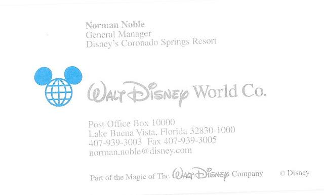 Norman Noble General Manager Disney's Coronado Springs Resort Business Card Disney World