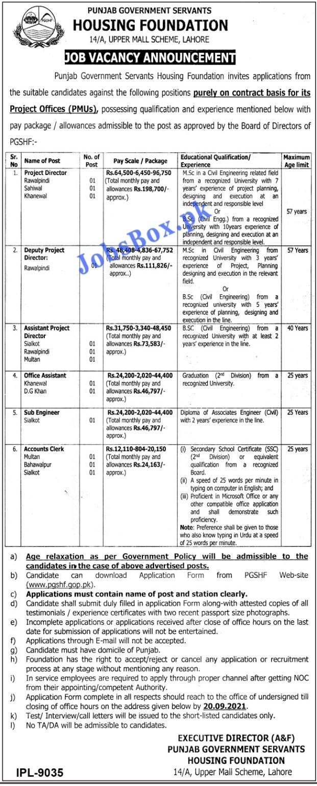 www.pgshf.gop.pk Jobs 2021 - Punjab Government Servants Housing Foundation Jobs 2021 in Pakistan