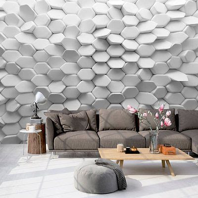 3D effect wallpaper for living room wall behind sofa