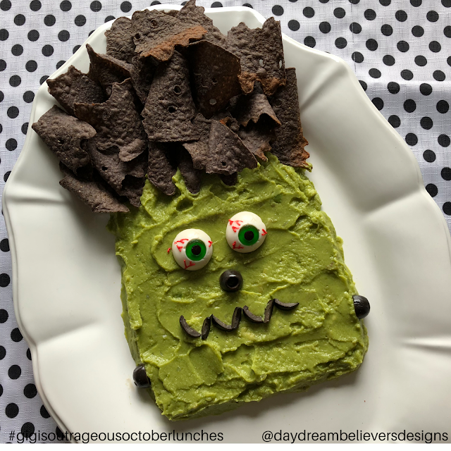 Such a fun Halloween Dinner Party This Guacamole Frankenstein is amazing