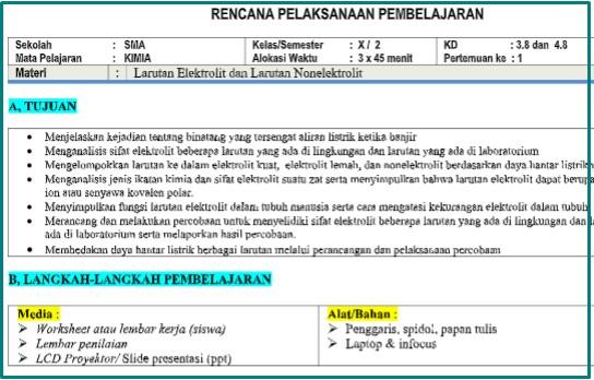 Download RPP 1 Lembar Kimia Kelas 10 Semester 2