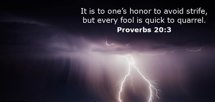 It is to one's honor to avoid strife, but every fool is quick to quarrel.