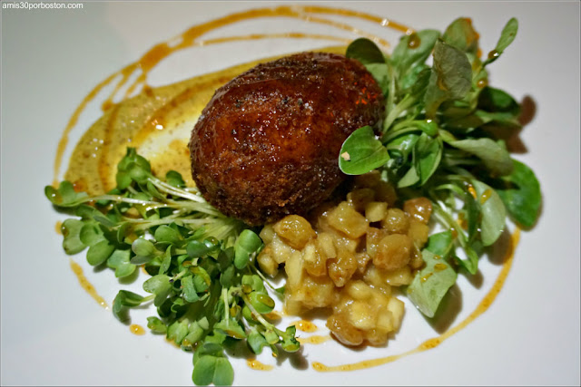 Pork Rillettes Croquette: Apple & pear mostarda, spicy beer mustard, rojo cider reduction, daikon radish sprouts, lamb's lettuce