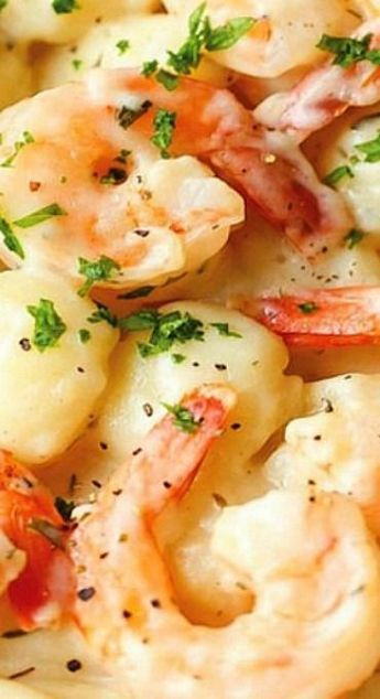 SHRIMP AND GNOCCHI WITH GARLIC PARMESAN CREAM SAUCE