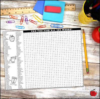 Free back to school word search sitting on a desk with school supplies. Terri's Teaching Treasures