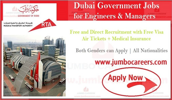 About the vacant positions of Dubai government jobs, RTA jobs with free visa and air ticket,