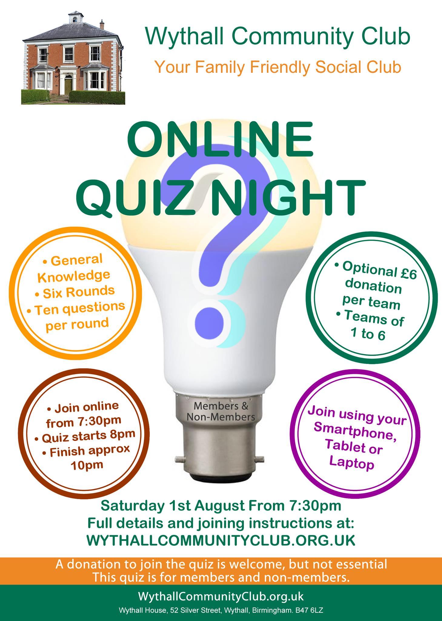 graphic of wythall quiz night