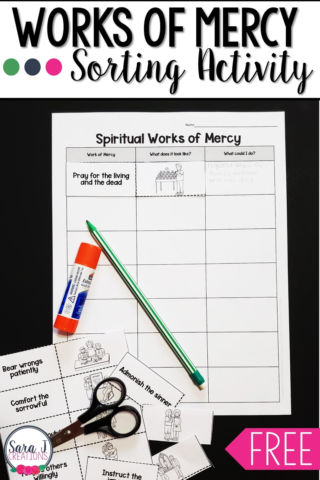 Corporal And Spiritual Works Of Mercy Sorting Activity