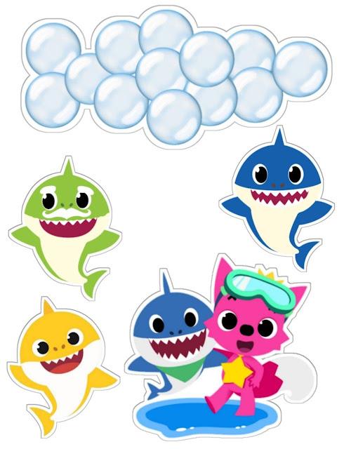 Familia de Baby Shark: Toppers para Tartas, Bizcochos o Pasteles para Imprimir Gratis.