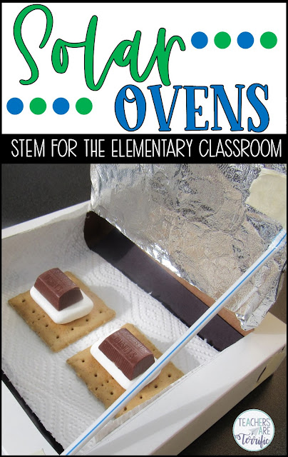 "A STEM Challenge perfect for Earth Day or any day. This one is to experiment with heat absorbing materials and then design a solar oven. Your students will be amazed to see their special treat being ""cooked""! The resource includes a detailed and thorough teacher's guide, photos, lab sheets, scoring rubric, and tons of hints and tips. #STEM #elementary #solaroven"