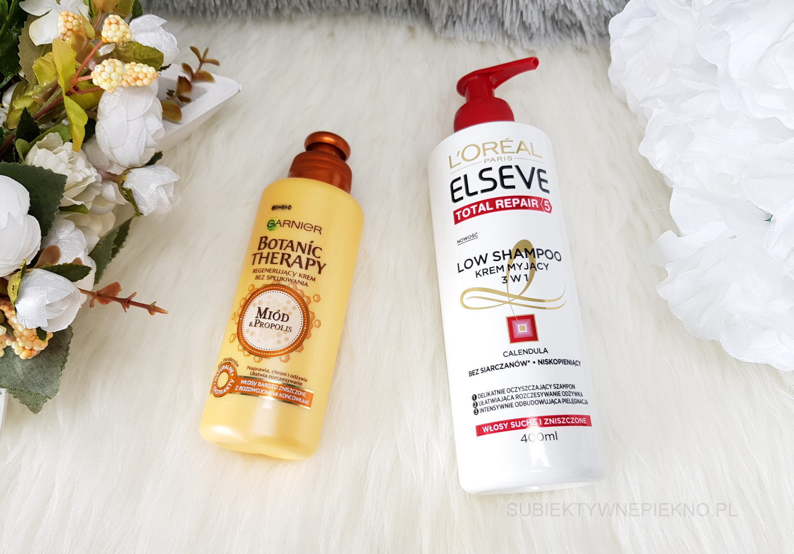 Co kupiłam na promocji w Rossmannie na produkty do włosów marzec 2018 - regenerujący krem Garnier Garnier Botanic Therapy i krem myjący 3w1 L'Oreal Elseve Low Shampoo