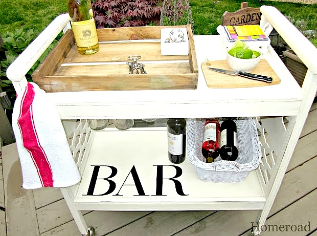Creating a DIY rolling bar cart from an old TV stand.