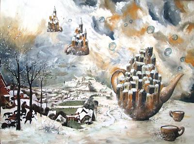 https://www.latelierdannapia.com/ omaggio a bruegel passeggiata nella neve fiamminghi acrilico collage art surréaliste surréalisme peinture