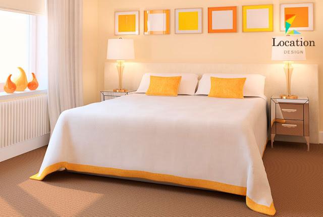 تصميم غرفة للبنات باللون الاصفر و الابيض 2020