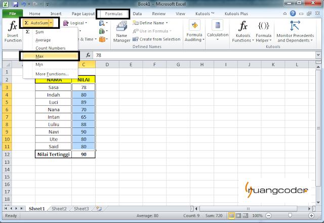 Rumus AUTOMAX Microsoft Excel
