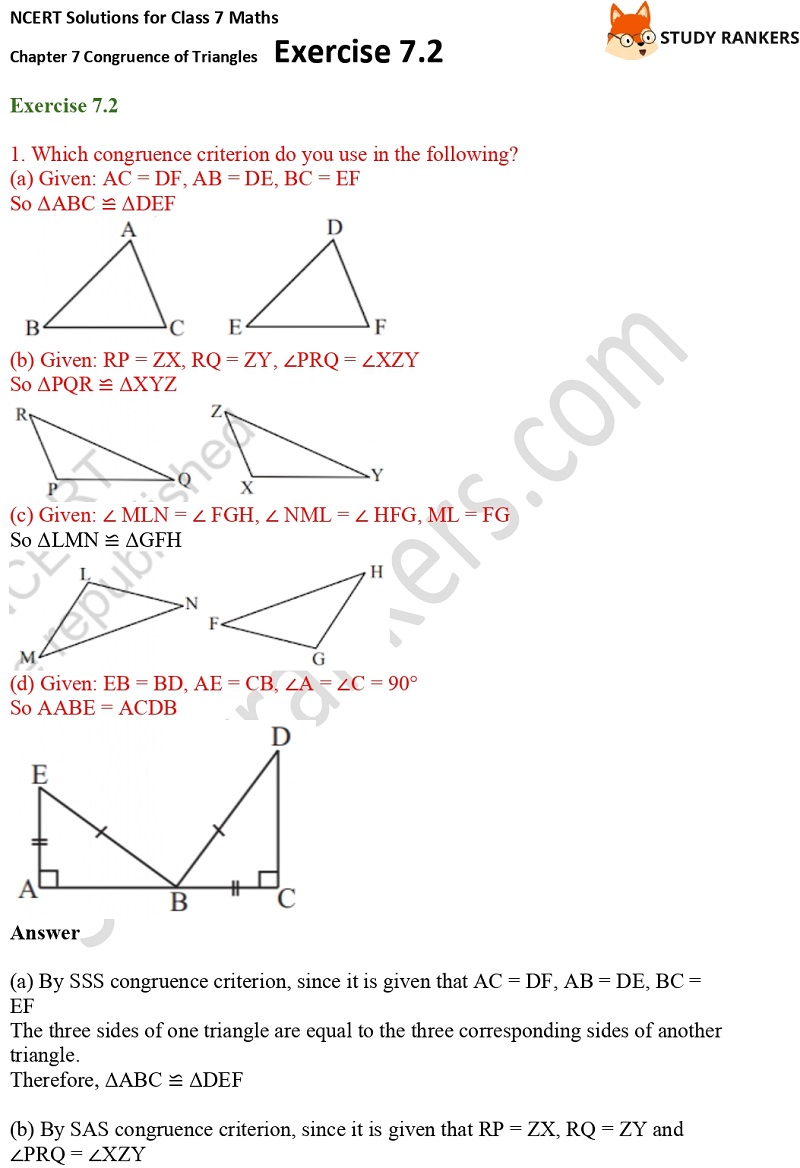 NCERT Solutions for Class 7 Maths Ch 7 Congruence of Triangles Exercise 7.2 1