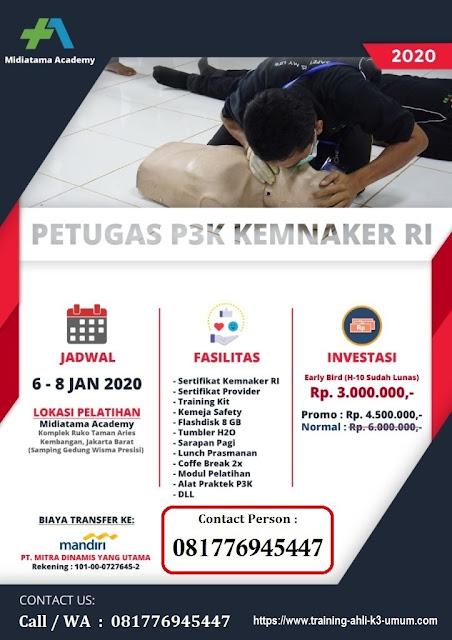 Petugas P3K murah tgl. 6-8 Januari 2020 di Jakarta