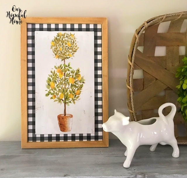 lemon topiary buffalo check print wall art frame porcelain white cow creamer