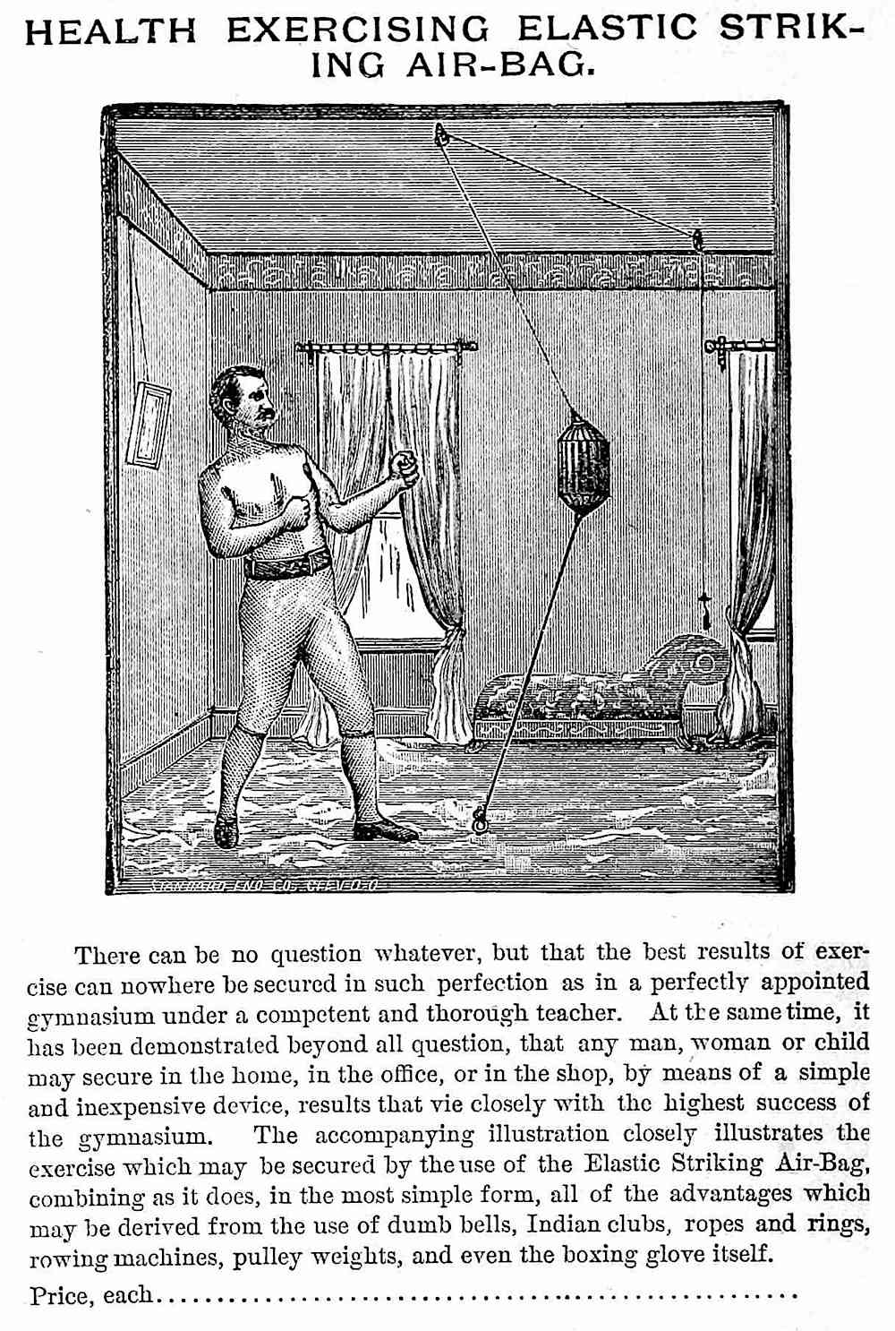 an 1889 personal home punching bag, illustration with text description