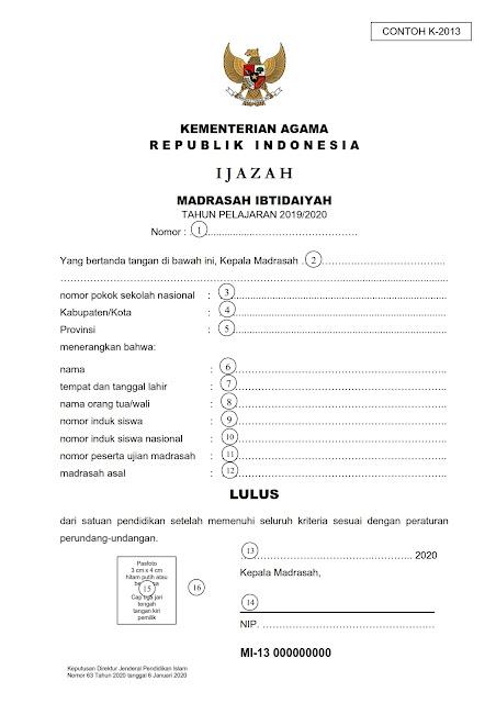 Juknis Penulisan Blangko Ijazah Dan Shuambn Madrasah 2019 2020