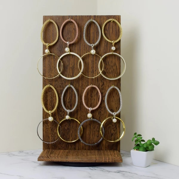 Brown Wooden Rotating Two-Sided Jewelry Display Stand showcasing bracelets