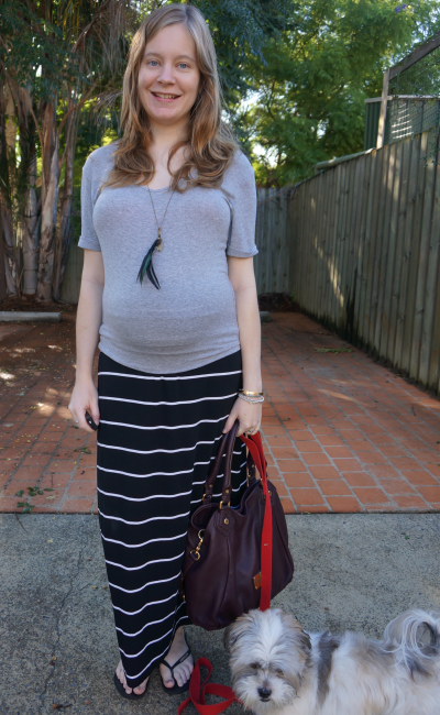 asos grey tee target black white stripe maxi skirt worn in third trimester
