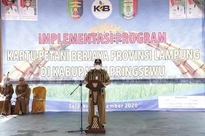 Gubernur Arinal Launching Implementasi Program Kartu Petani Berjaya Di Kabupaten Pringsewu