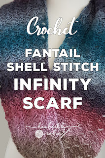 Fantail Shell Stitch Scarf infinity cowl Free Pattern