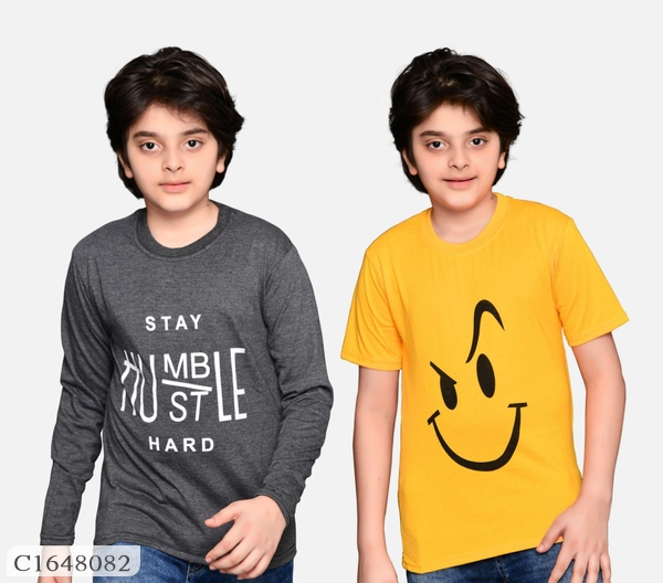 6 To 14 Years Old Boys Printed Cotton Blend T Shirt Pack of 2 Online Shopping   Combo T-shirt For Boys Online Shopping   Kids Clothing Online  