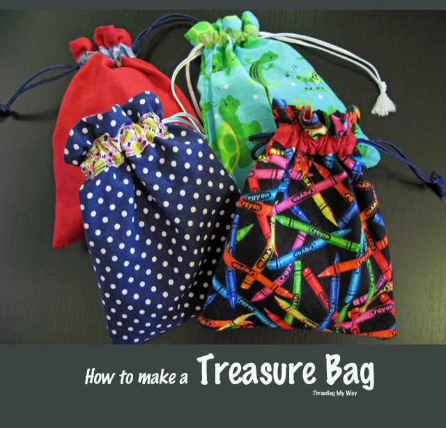 """""""Treasure Bag"""" is a Free Tote Bag Pattern designed by Pam from Threading My Way"""