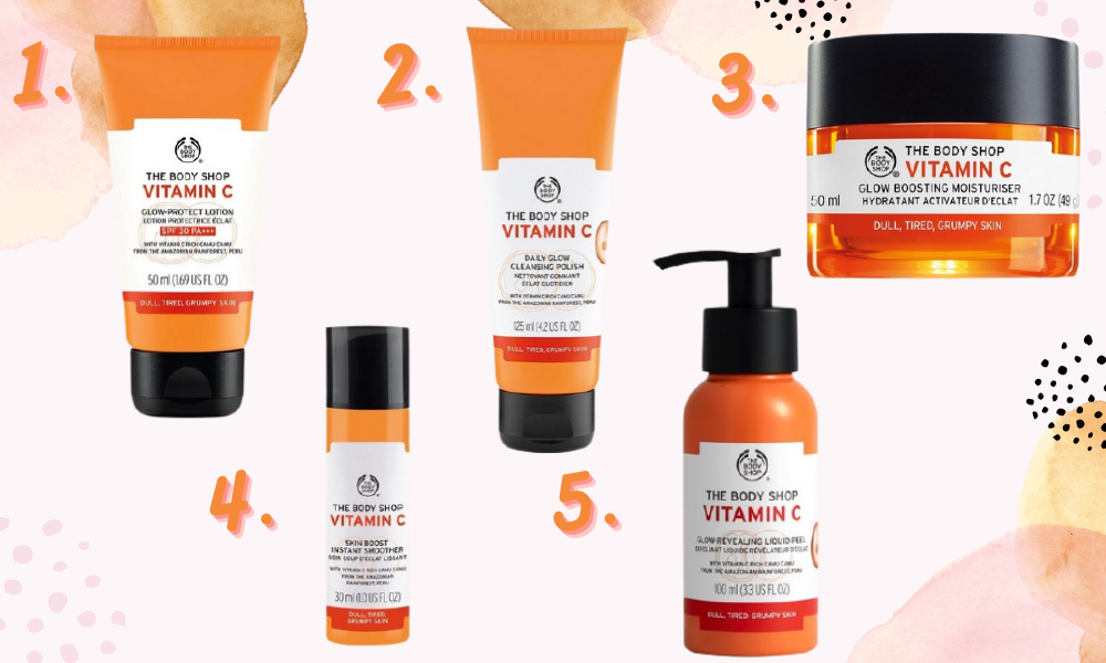 Collage showing a range of body shop skincare from the vitamin c range