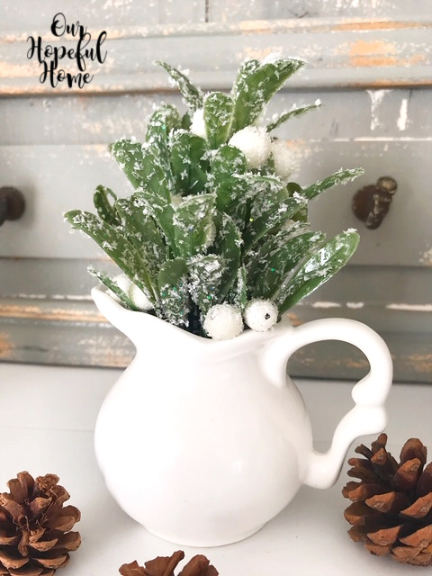 winter greens white berries white ironstone creamer vase
