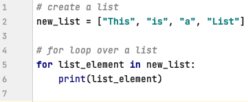 For loop in Python over a list