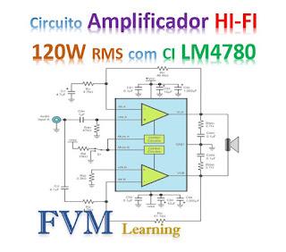 Circuito Amplificador HI-FI 120W RMS com CI LM4780