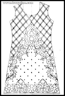 how to draw women salwar kameez easy drawing/embroidery kameez designs