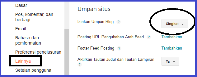 2 ) Setting Pengaturan Blogger